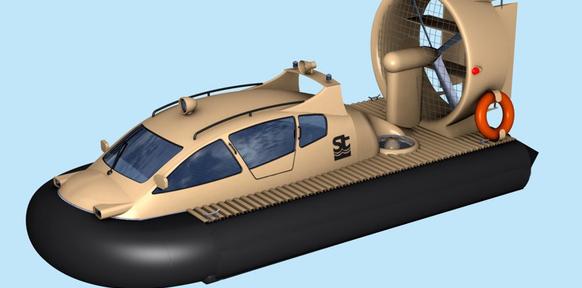 3d-модель катера на воздушной